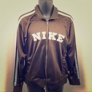 Women's Nike zip jacket coat windbreaker M brown